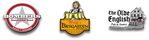 Bombers Burrito Bar, The Olde English Pub, Wolff's Biergarten